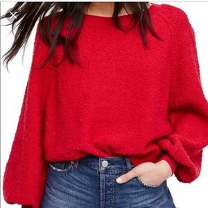 Free people red sweater size Xs NWT crop top comfy